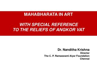 MAHABHARATA IN ART  WITH SPECIAL REFERENCE  TO THE RELIEFS OF ANGKOR VAT