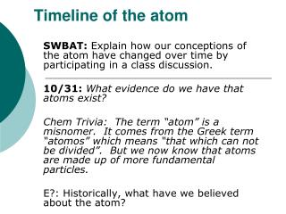 Timeline of the atom