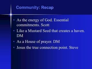 Community: Recap