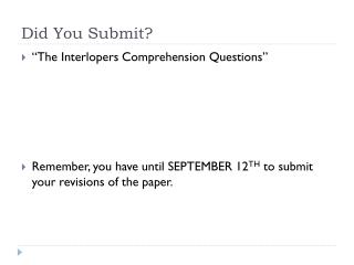 Did You Submit?
