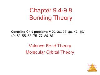 Chapter 9.4-9.8 Bonding Theory