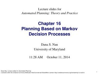 Chapter 16 Planning Based on Markov Decision Processes
