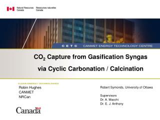 CO 2  Capture from Gasification Syngas via Cyclic Carbonation / Calcination