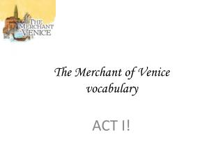 The Merchant of Venice vocabulary