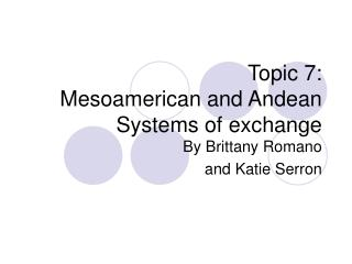 Topic 7: Mesoamerican and Andean Systems of exchange