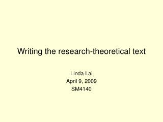 Writing the research-theoretical text