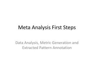 Meta Analysis First Steps