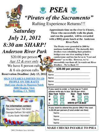 "PSEA ""Pirates of the Sacramento"" Rafting Experience Returns!!!"