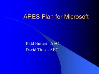 ARES Plan for Microsoft