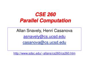 CSE 260 Parallel Computation