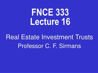 FNCE 333 Lecture 16