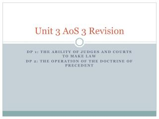 Unit 3  AoS  3 Revision