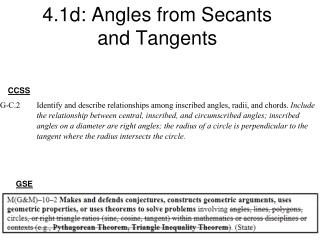 4.1d: Angles from Secants and Tangents