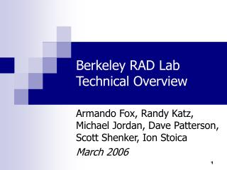 Berkeley RAD Lab Technical Overview