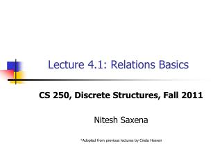 Lecture 4.1: Relations Basics