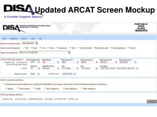 Updated ARCAT Screen Mockup