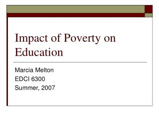 Impact of Poverty on Education