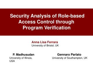 Security Analysis of Role-based                   Access Control through