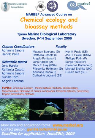 MARBEF Advanced Course on Chemical ecology and bioassay methods