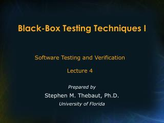 Black-Box Testing Techniques I