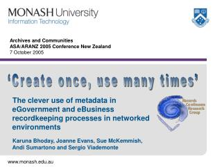 Archives and Communities ASA/ARANZ 2005 Conference New Zealand  7 October 2005