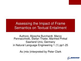 Assessing the Impact of Frame Semantics on Textual Entailment