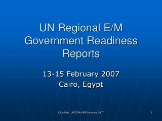 UN Regional E/M Government Readiness Reports