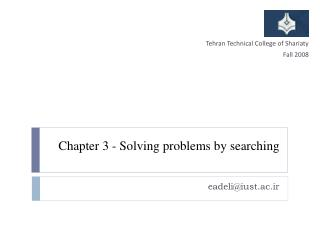 Chapter 3 - Solving  problems by  searching