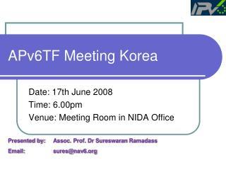 APv6TF Meeting Korea