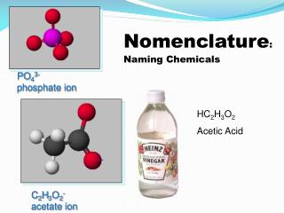 Nomenclature : Naming Chemicals