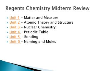Regents Chemistry Midterm Review