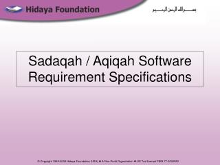 Sadaqah / Aqiqah Software Requirement Specifications