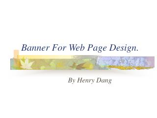 Banner For Web Page Design.