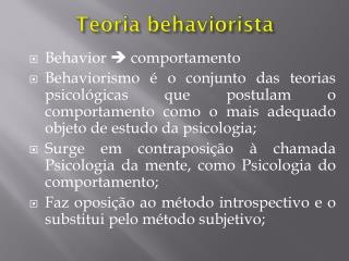 Teoria behaviorista