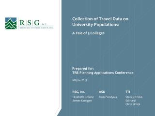 Collection of Travel Data on University Populations: