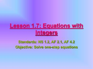 Lesson 1.7: Equations with Integers