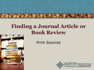Finding a Journal Article or Book Review