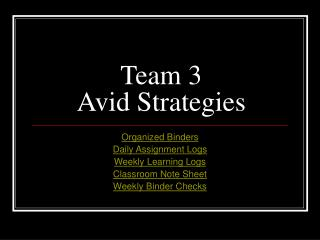 Team 3 Avid Strategies