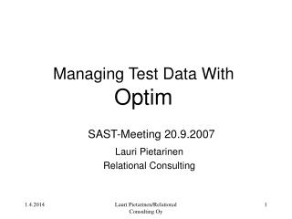 Managing Test Data With Optim