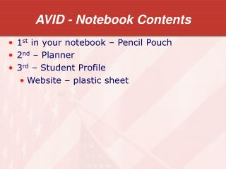AVID - Notebook Contents