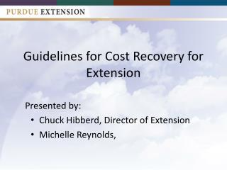 Guidelines for Cost Recovery for Extension