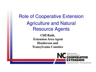 Role of Cooperative Extension Agriculture and Natural Resource Agents