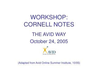 WORKSHOP:   CORNELL NOTES