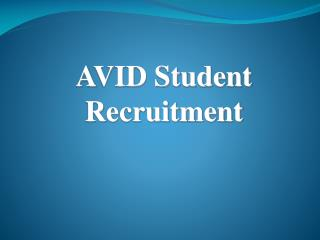 AVID Student Recruitment