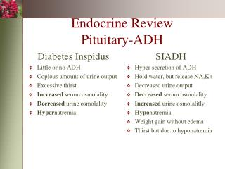 Endocrine Review Pituitary-ADH