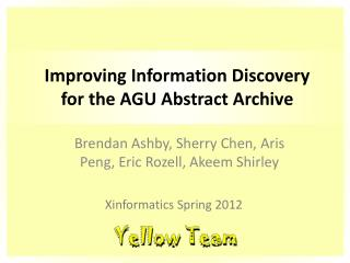 Improving Information Discovery for the AGU Abstract Archive