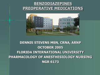 BENZODIAZEPINES PREOPERATIVE MEDICATIONS