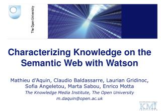 Characterizing Knowledge on the Semantic Web with Watson
