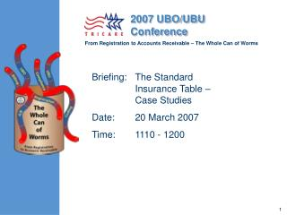 Briefing:	The Standard Insurance Table – Case Studies Date:	20 March 2007 Time:	1110 - 1200