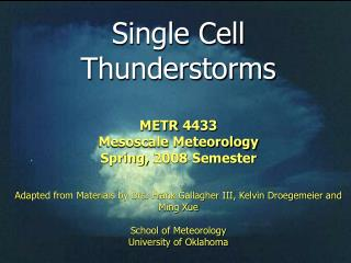 Single Cell  Thunderstorms